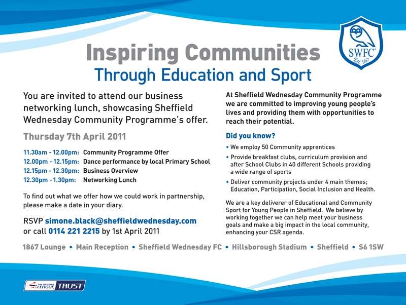 Invitation to attend a Business Networking Lunch to showcase